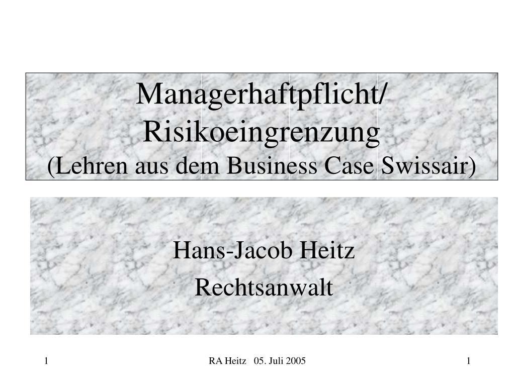 Managerhaftpflicht/ Risikoeingrenzung