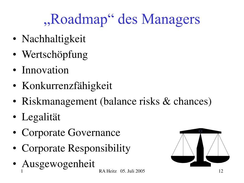 """Roadmap"" des Managers"
