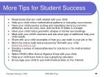 more tips for student success