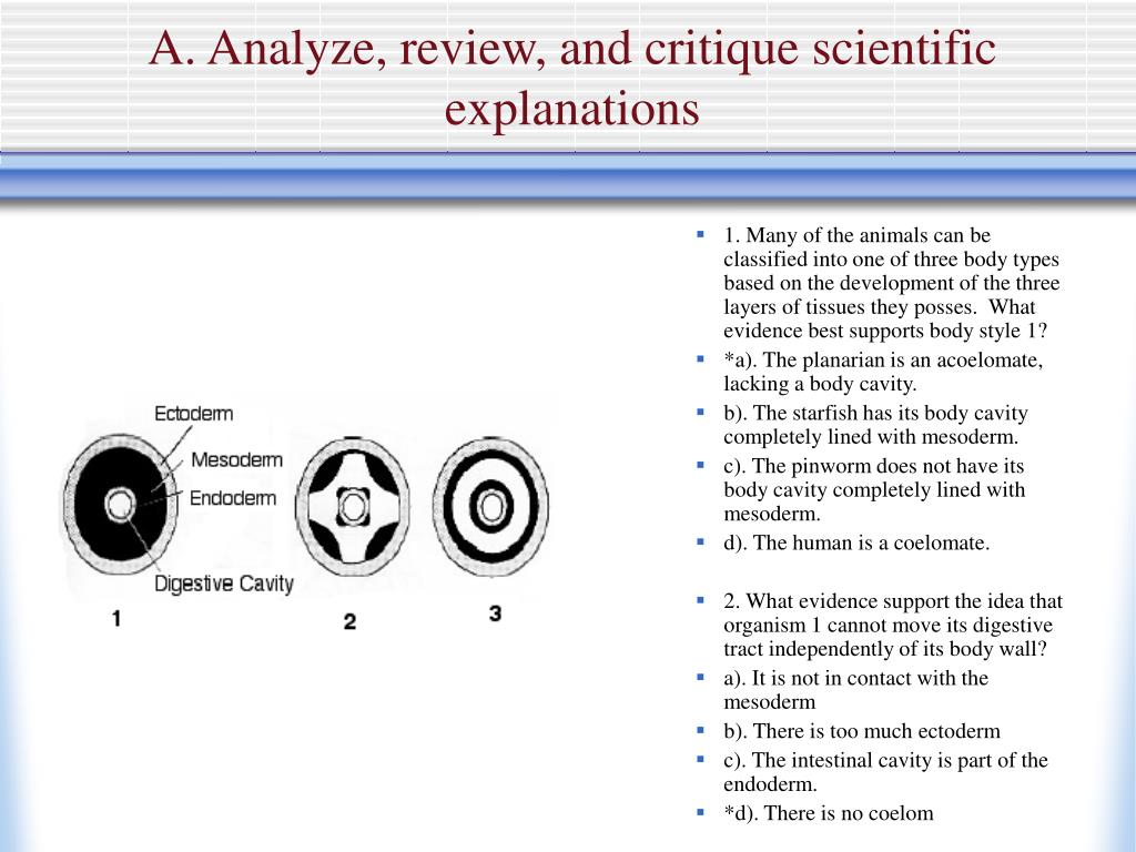 A. Analyze, review, and critique scientific explanations