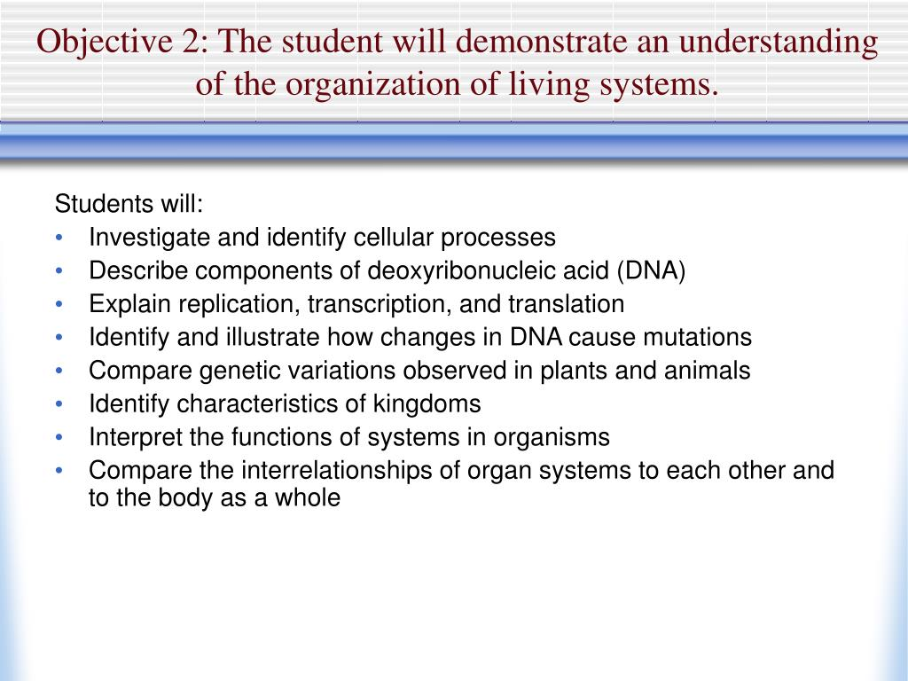 Objective 2: The student will demonstrate an understanding of the organization of living systems.