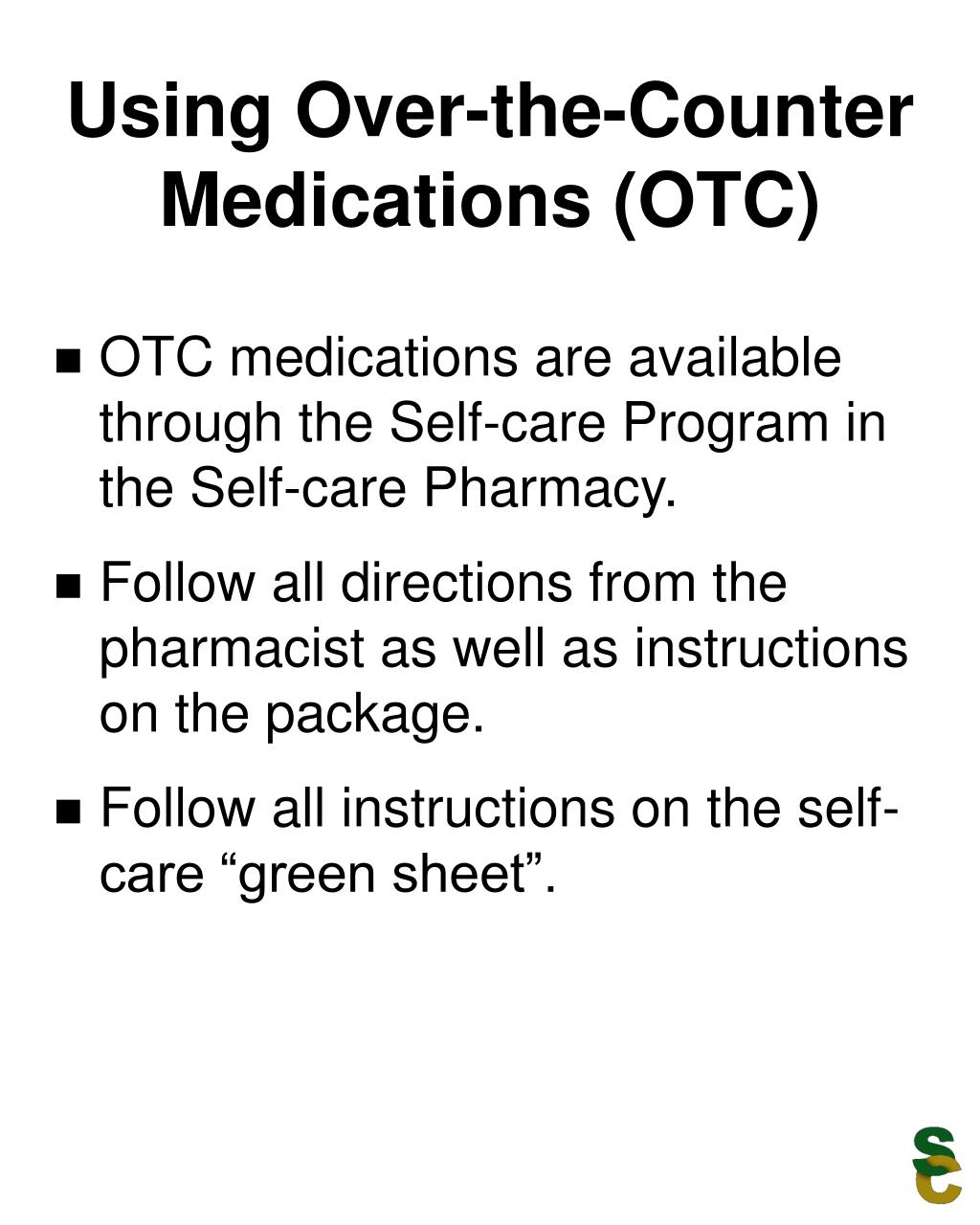 Using Over-the-Counter Medications (OTC)
