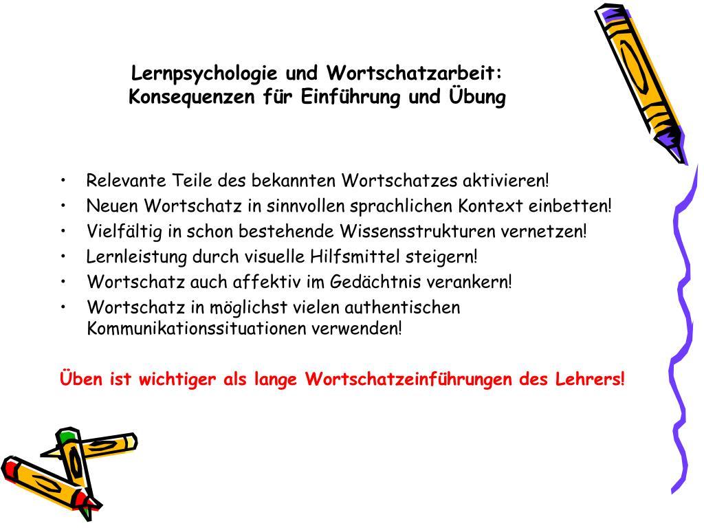 Lernpsychologie und Wortschatzarbeit: