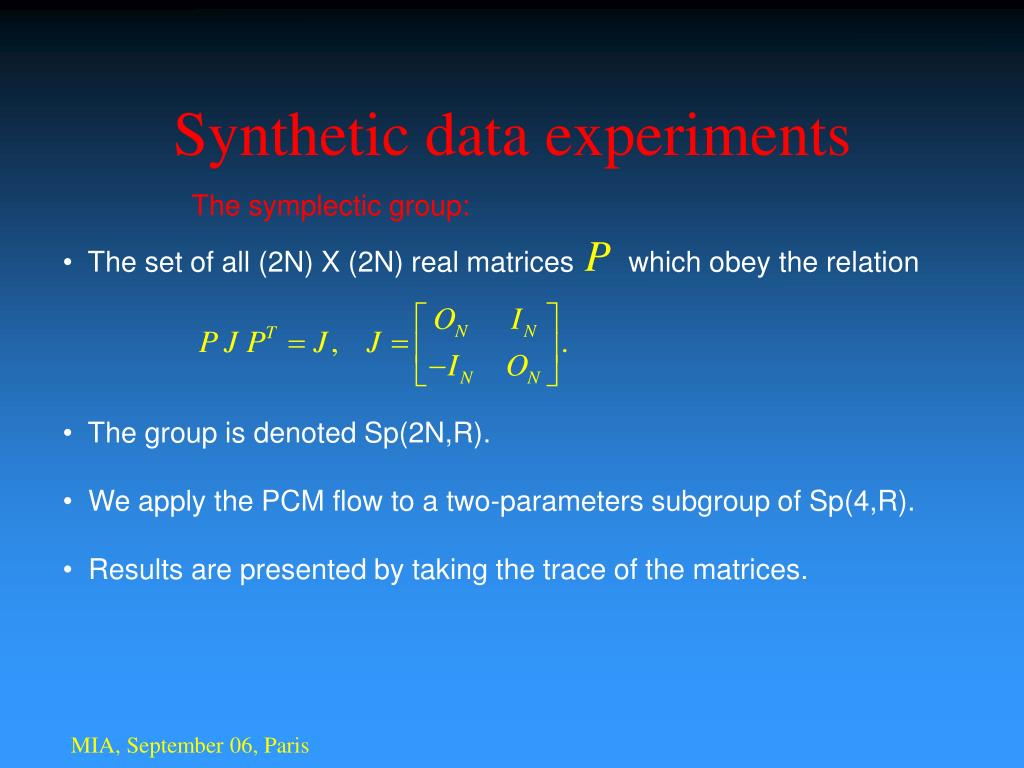 Synthetic data experiments