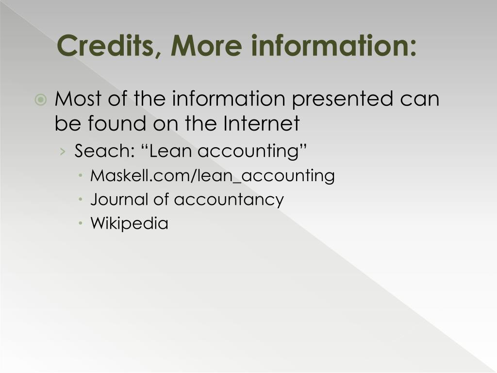 Credits, More information: