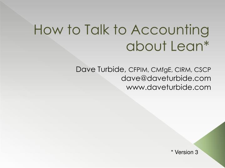 How to talk to accounting about lean