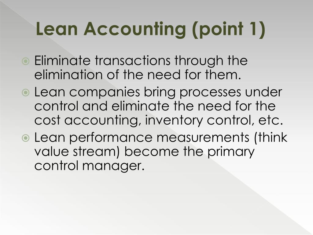 Lean Accounting (point 1)