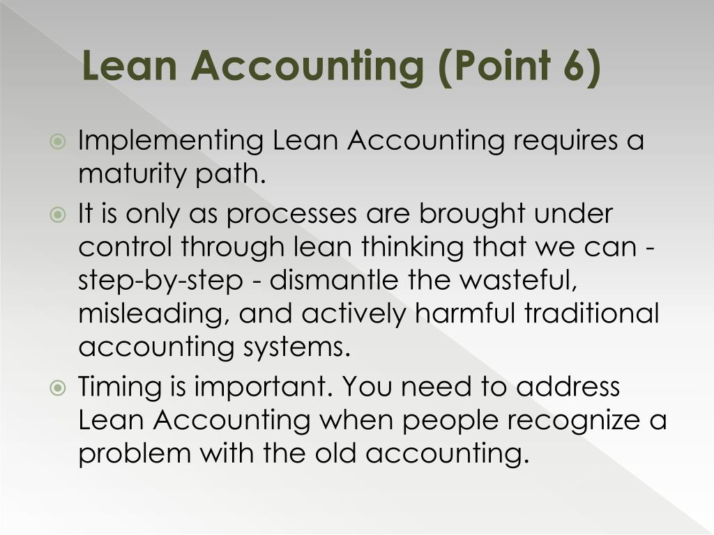 Lean Accounting (Point 6)