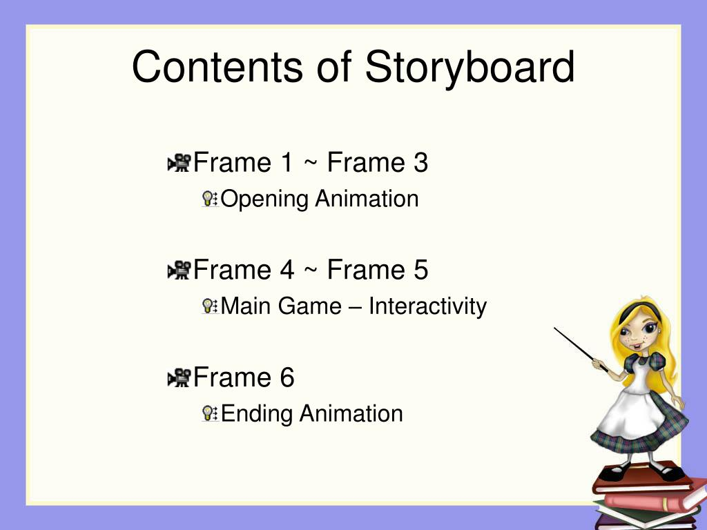 Contents of Storyboard