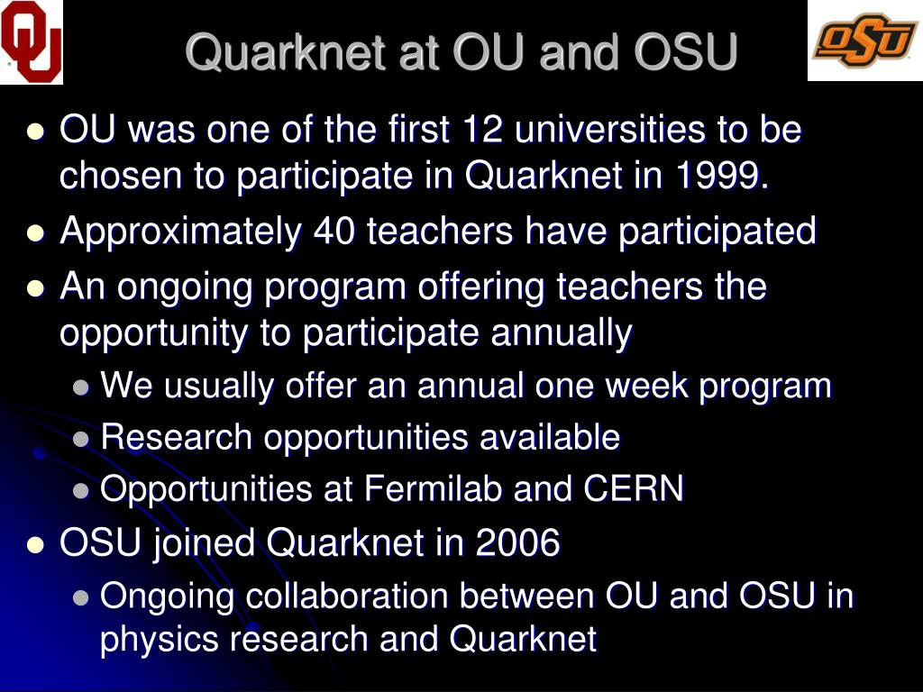 Quarknet at OU and OSU