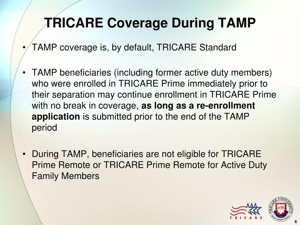 TRICARE Coverage During TAMP
