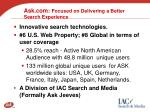 ask com focused on delivering a better search experience