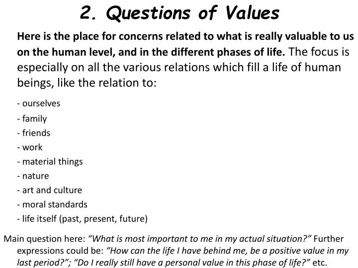 2. Questions of Values