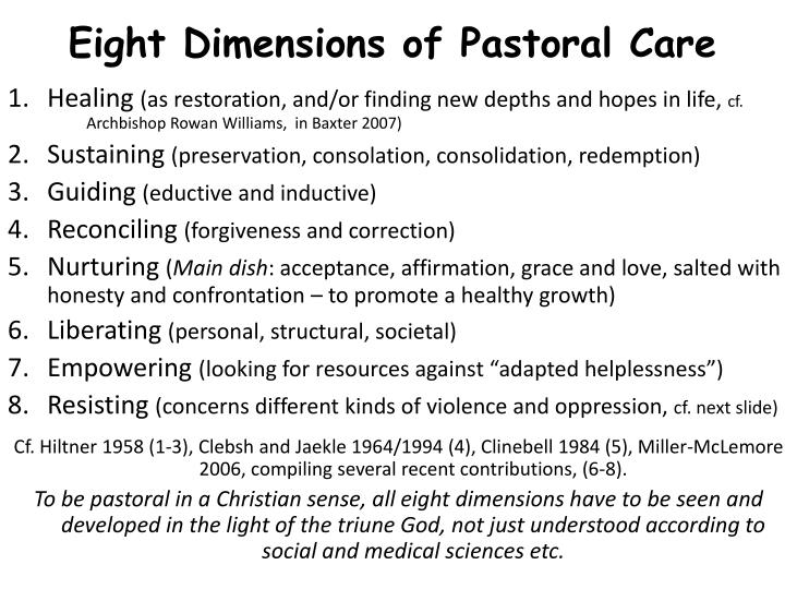 Eight Dimensions of Pastoral Care