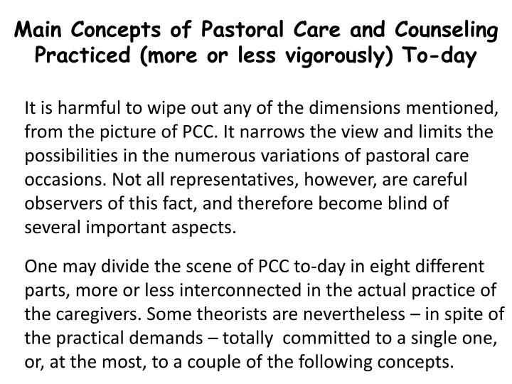Main Concepts of Pastoral Care and