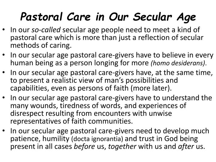 Pastoral Care in Our Secular Age