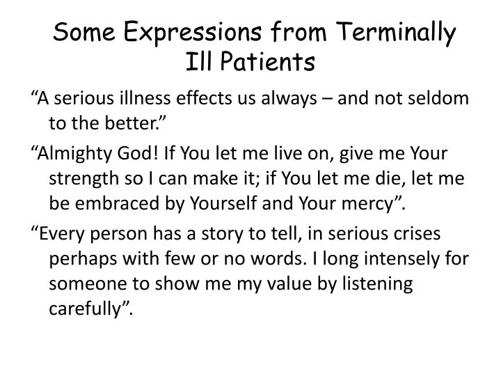 Some Expressions from Terminally Ill Patients