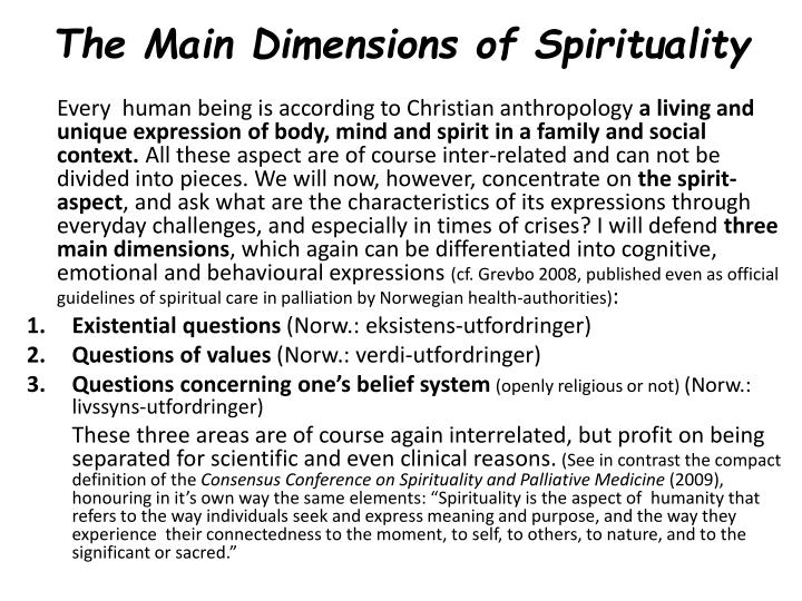 The Main Dimensions of Spirituality