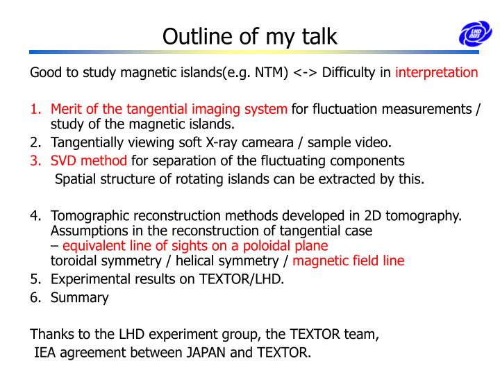 Outline of my talk