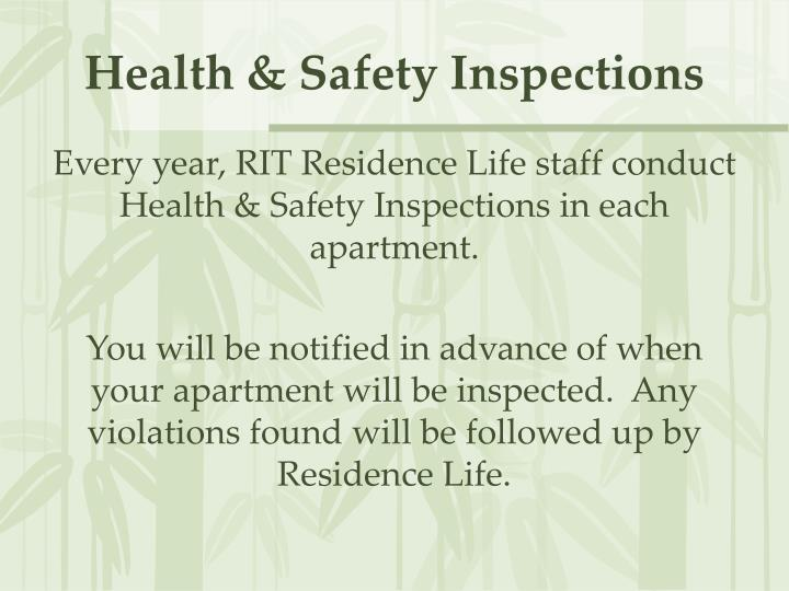 Health safety inspections