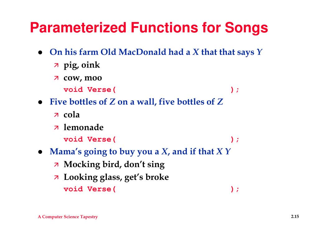 Parameterized Functions for Songs