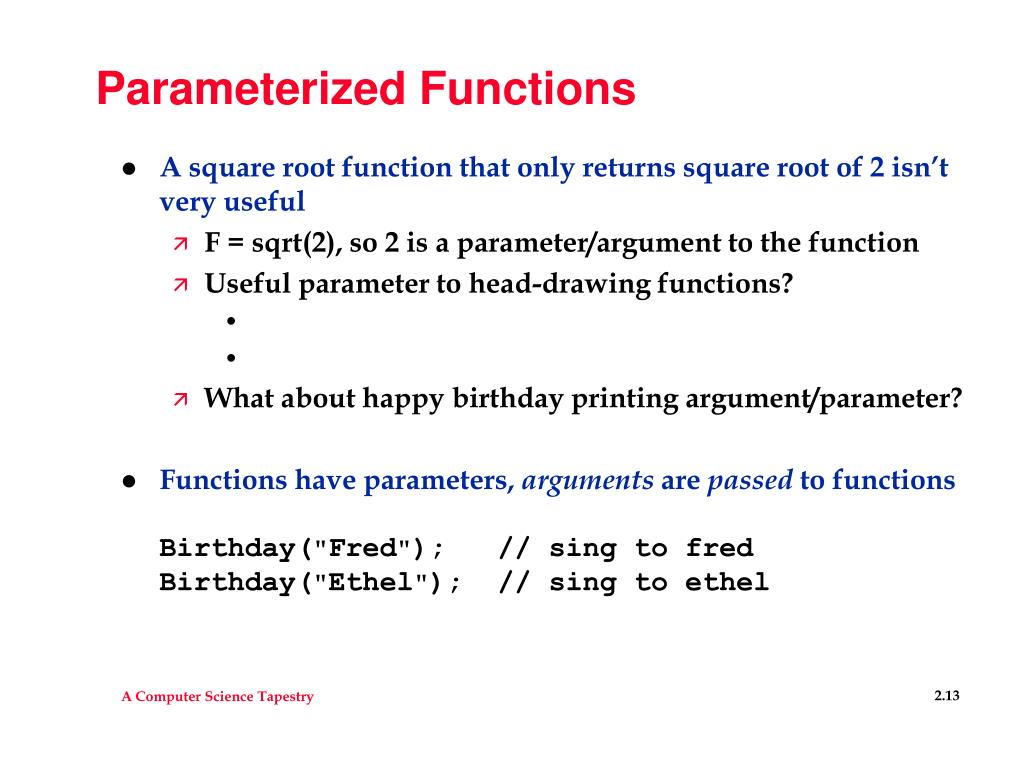 Parameterized Functions