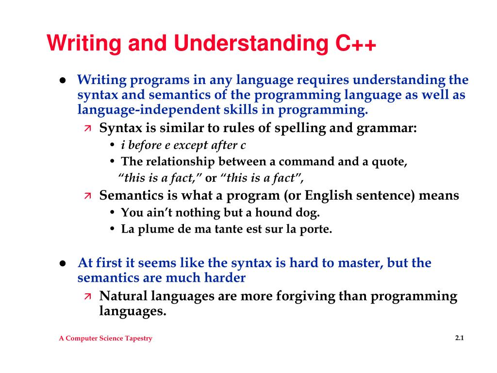 writing and understanding c l.