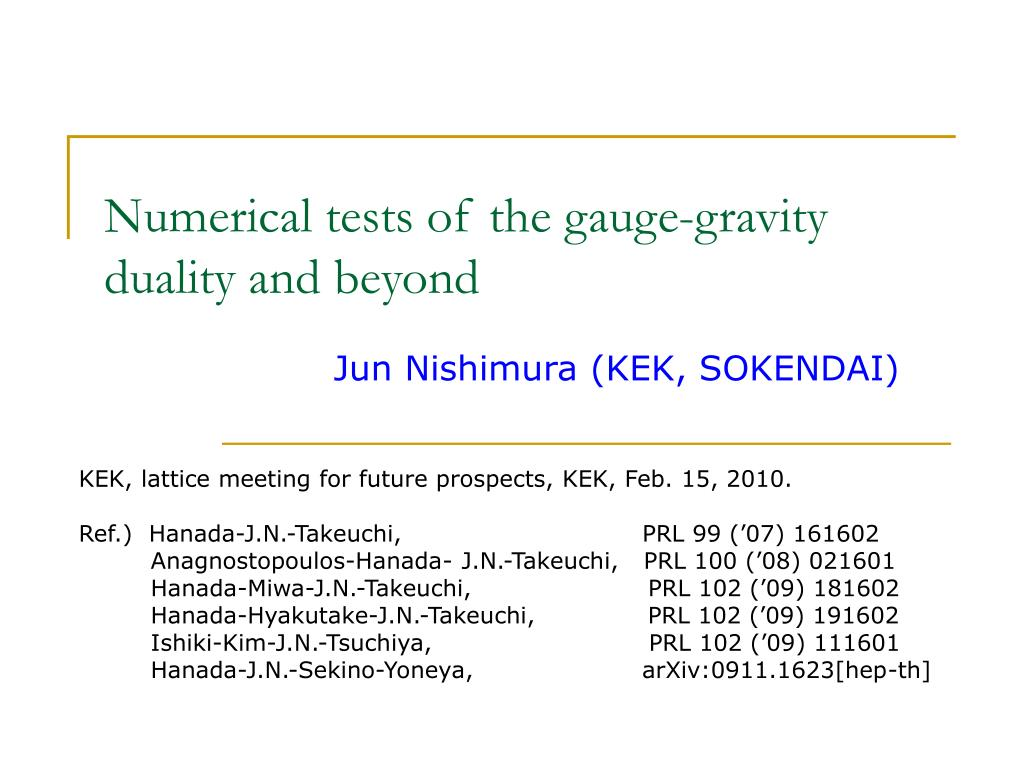 numerical tests of the gauge gravity duality and beyond l.