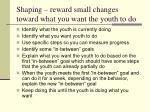 shaping reward small changes toward what you want the youth to do
