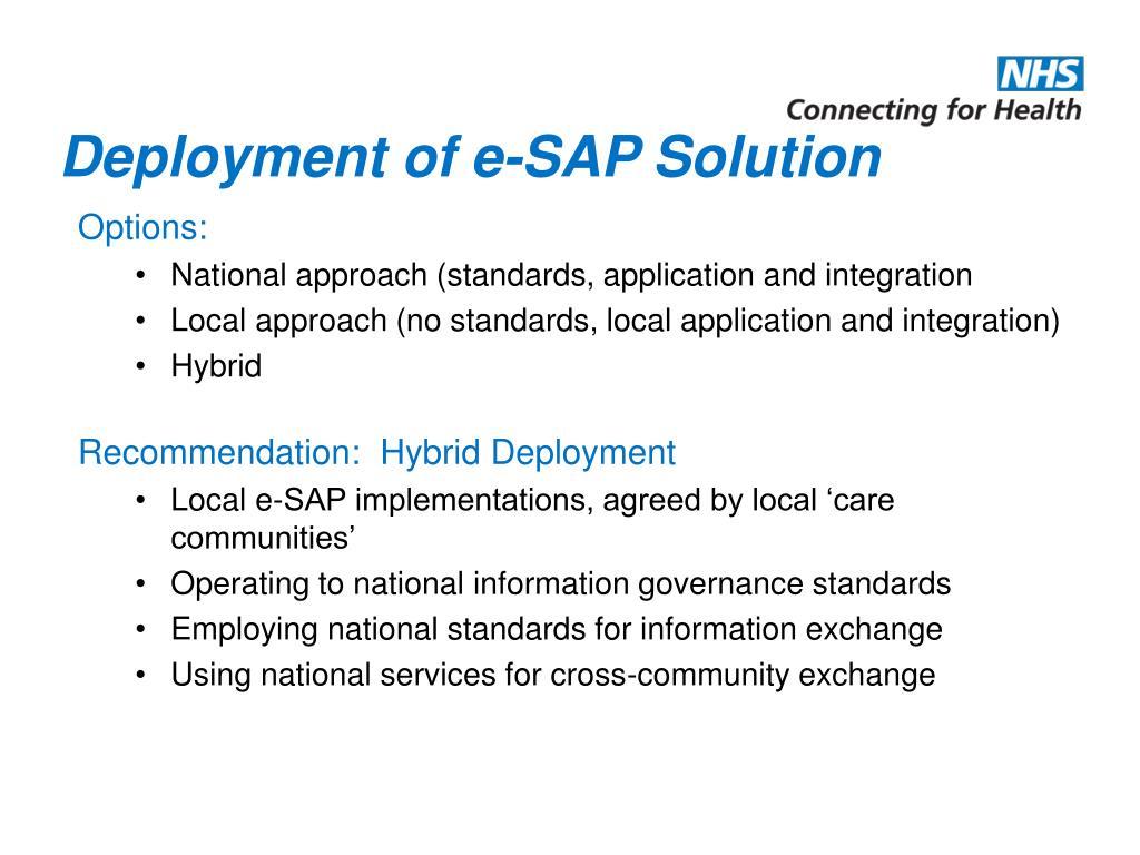 Deployment of e-SAP Solution