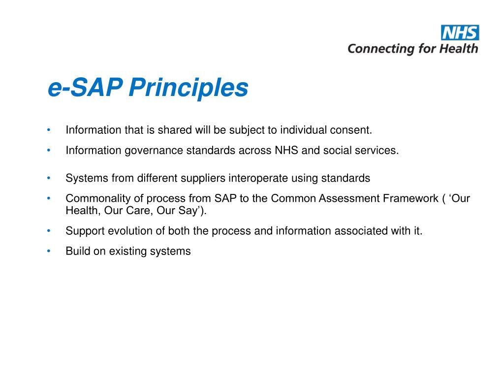 e-SAP Principles