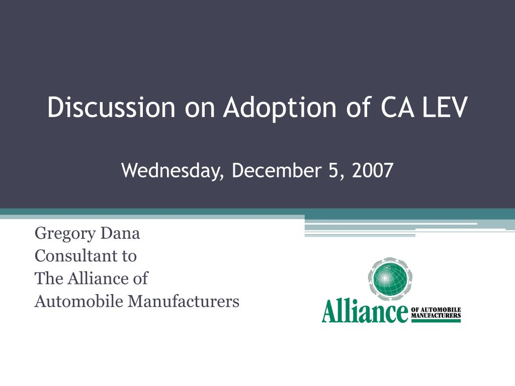 discussion on adoption of ca lev wednesday december 5 2007 l.