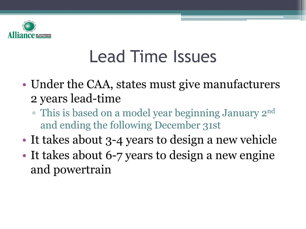 Lead Time Issues