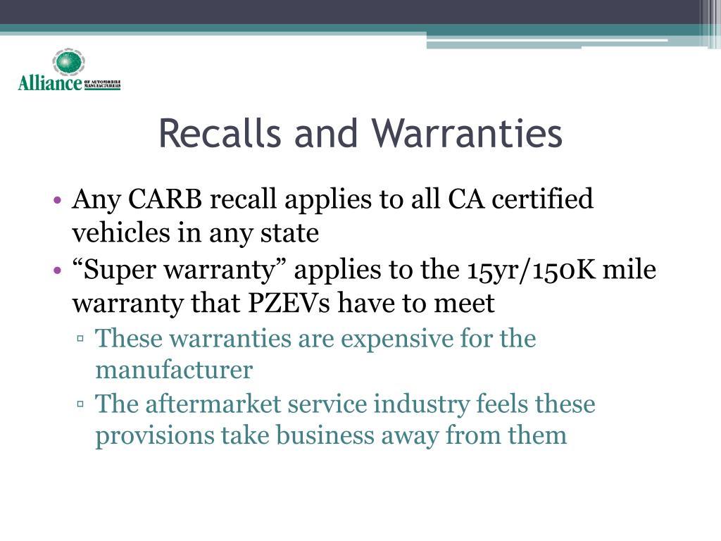Recalls and Warranties