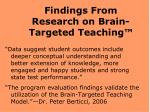 findings from research on brain targeted teaching