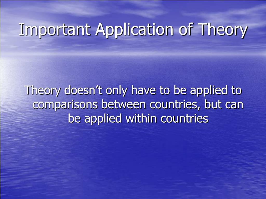 Important Application of Theory