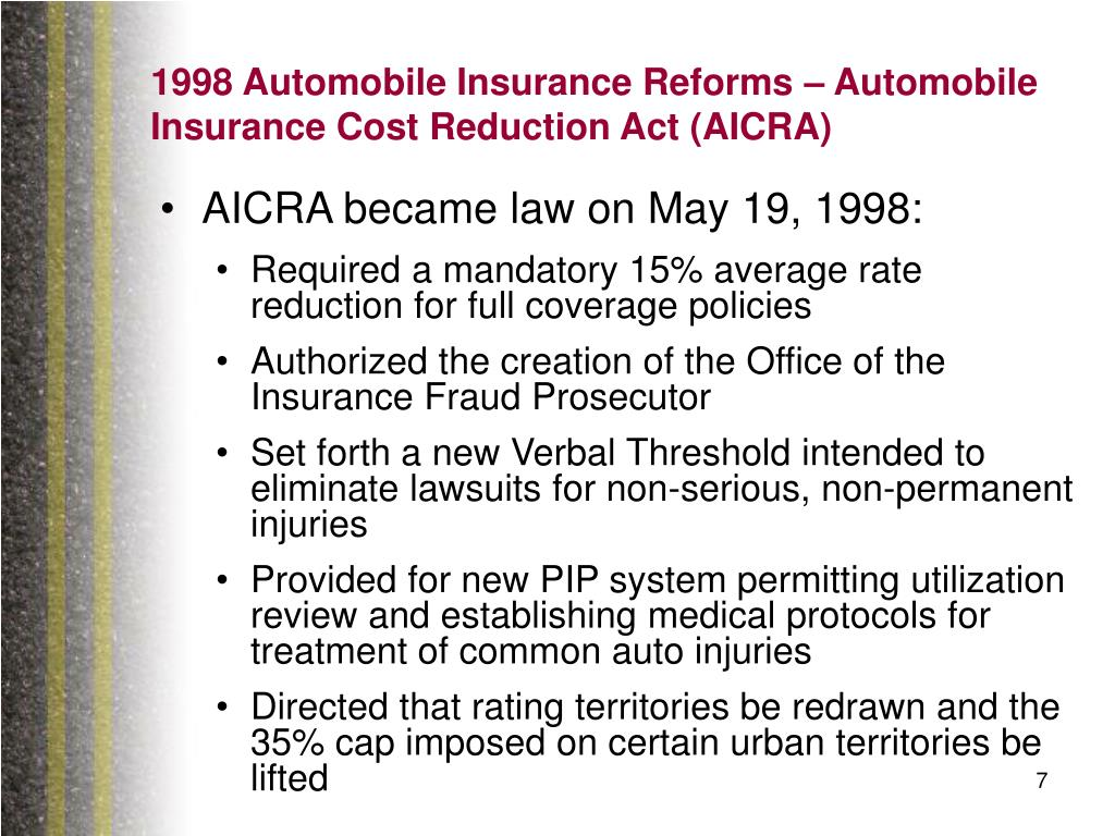 1998 Automobile Insurance Reforms – Automobile Insurance Cost Reduction Act (AICRA)