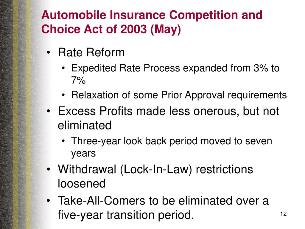Automobile Insurance Competition and Choice Act of 2003 (May)
