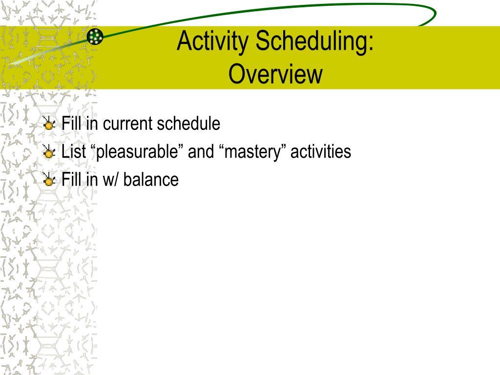 Activity Scheduling:
