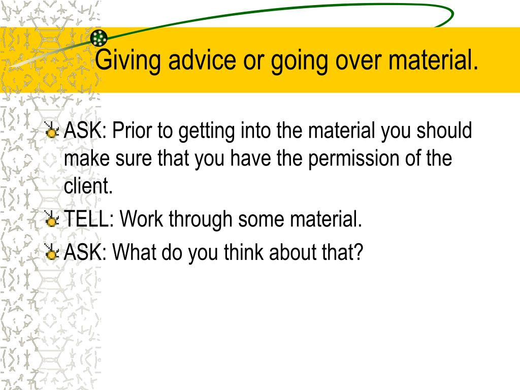 Giving advice or going over material.