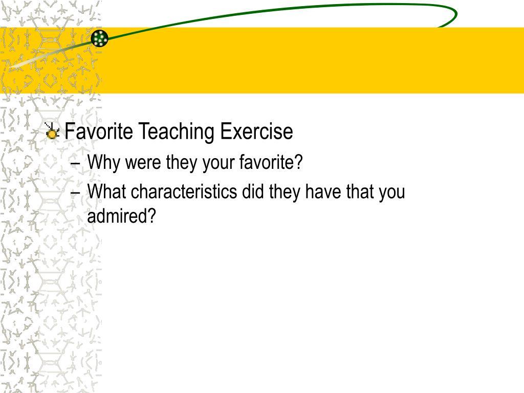 Favorite Teaching Exercise
