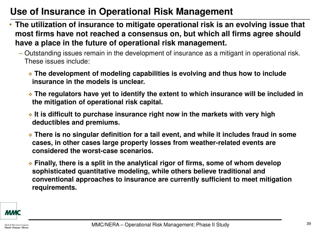 Use of Insurance in Operational Risk Management