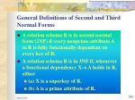 general definitions of second and third normal forms