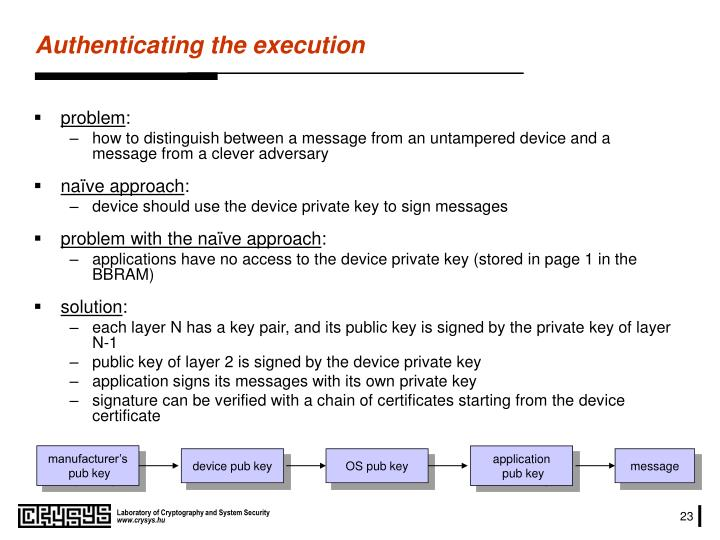 Authenticating the execution