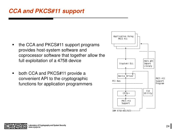 the CCA and PKCS#11 support programs provides host-system software and coprocessor software that together allow the full exploitation of a 4758 device