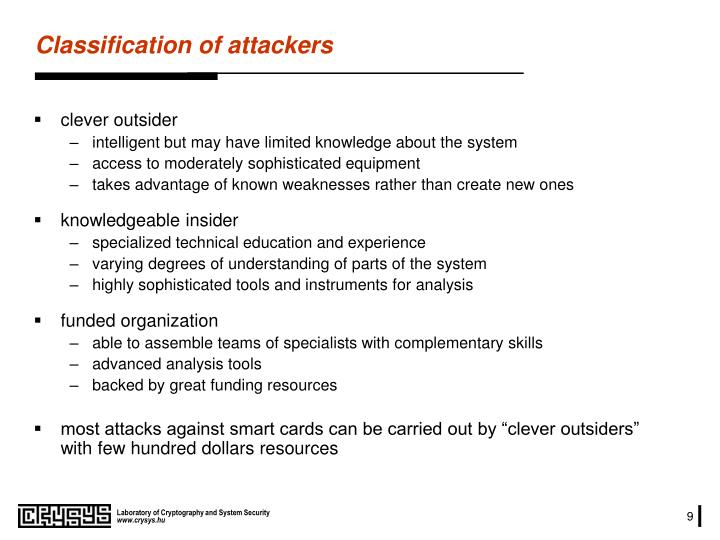 Classification of attackers