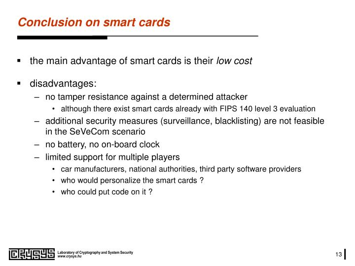 Conclusion on smart cards