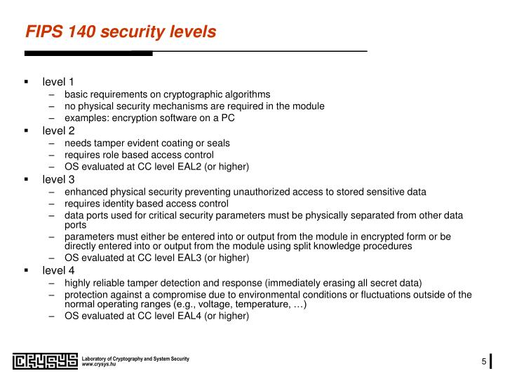 FIPS 140 security levels