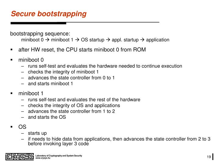 Secure bootstrapping