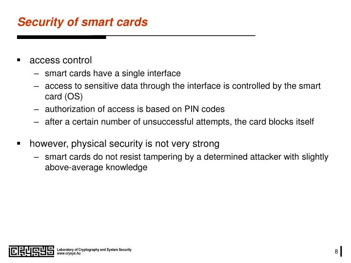 Security of smart cards